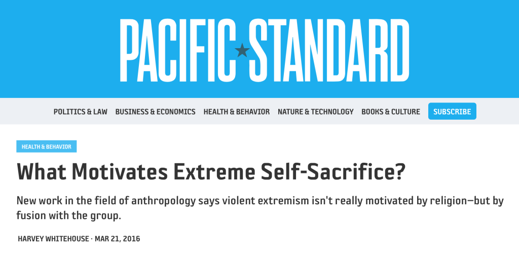 Whitehouse suggests that shared suffering is the real cause of extreme self-sacrifice