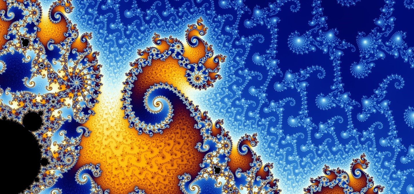 The 'Mandlebrot Set' is the traditional illustrated example of a fractal. Source: Wikipedia