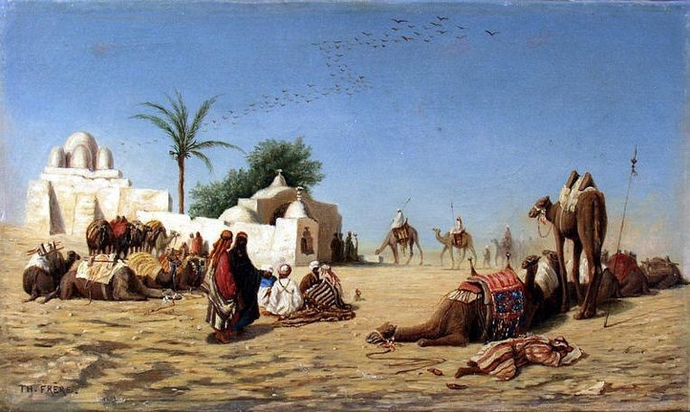 Frere Charles Theodore - The Halt of Camels to the Caravanserai. Source: Wikipedia
